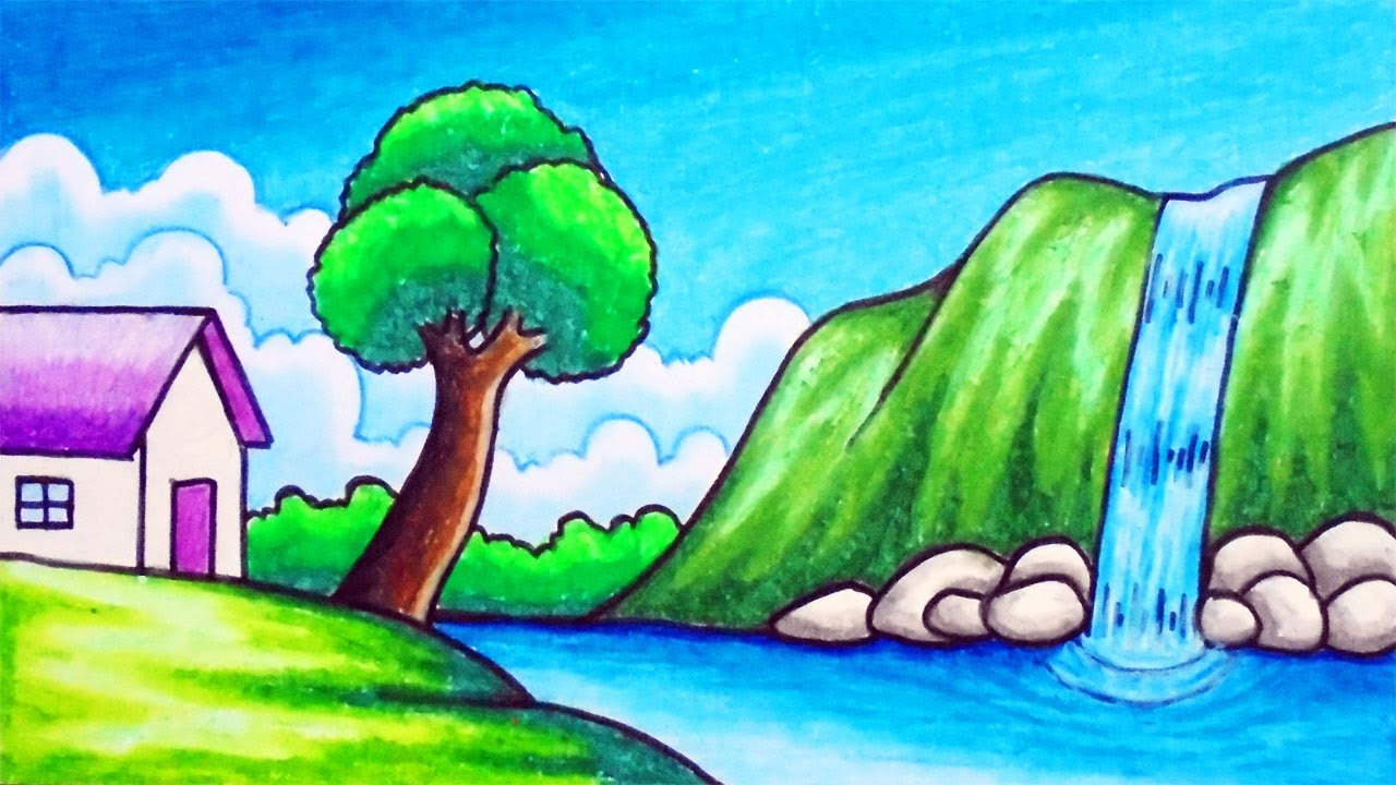 How To Draw Easy Scenery Drawing Waterfall In The Village Scenery Step By Step With Oil Pastels
