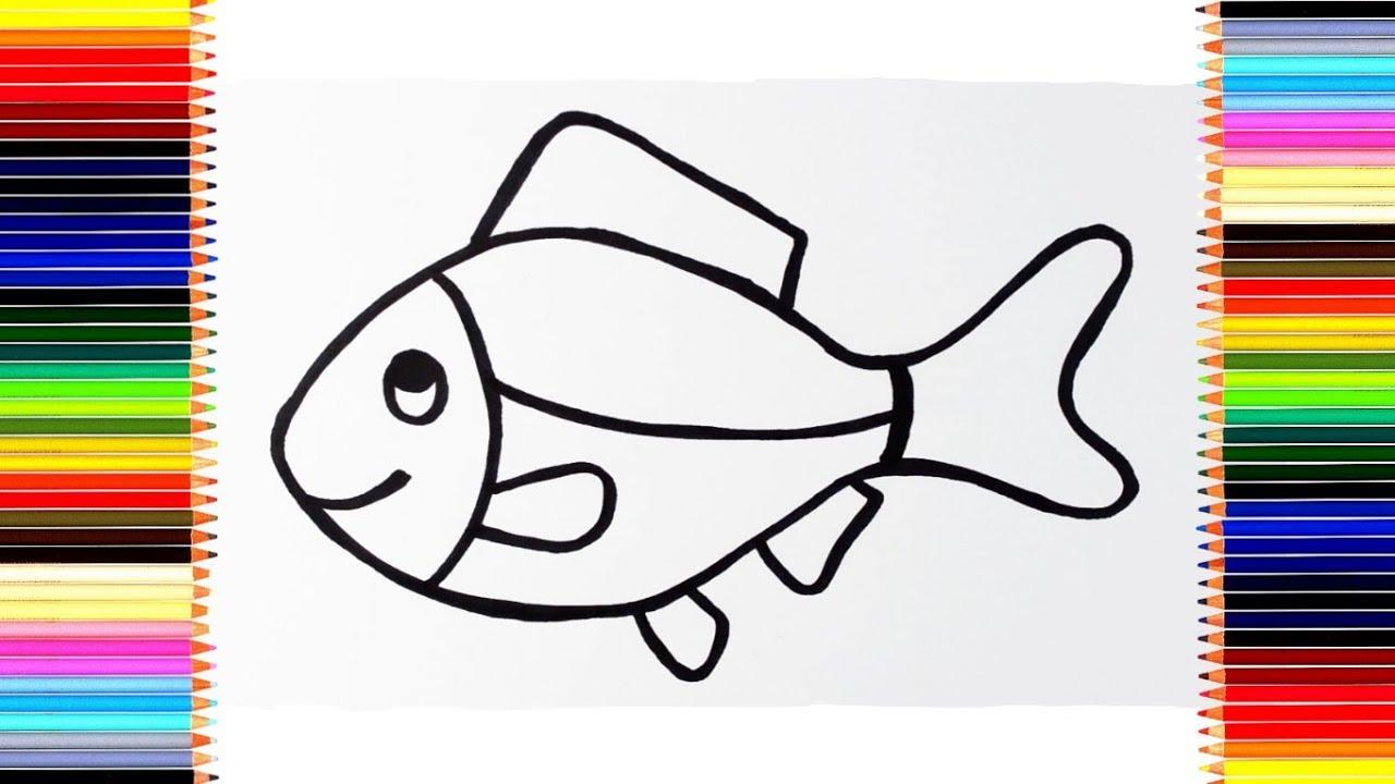 Как нарисовать РЫБКУ / мультик раскраска РЫБА для детей ...
