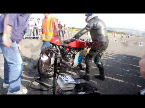 Honda 250 6 cylinder RC166 start up Jurby festival Isle of Man during the Manx Grand Prix Classic TT
