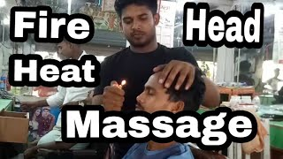 Village barber Face,neck,head and forehead massage with fire heat 🔥 by Indian village barber//  asmr