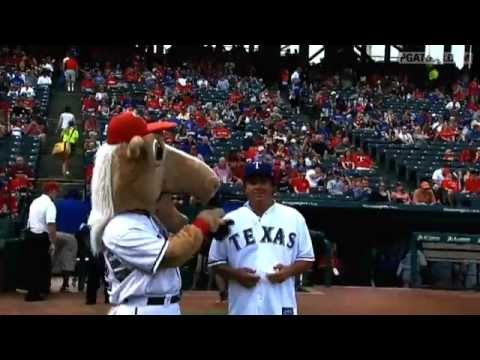 Jason Dufner throws First Pitch at Texas Rangers Game