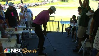 Steph Curry's insane golf shot from spectator tent at American Century Championship | NBC Sports