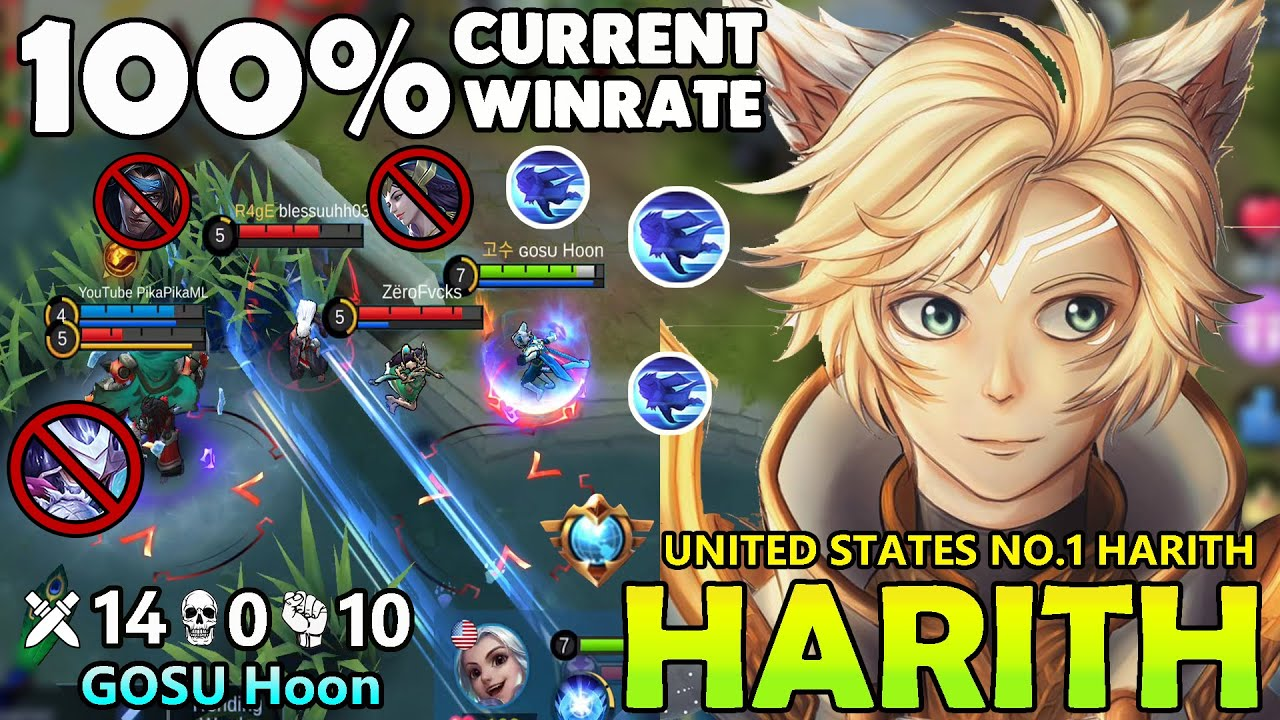 100% CURRENT WINRATE!!TOP GLOBAL HARITH GAMEPLAY 2020 BY GOSU Hoon~ HARITH MOBILE LEGENDS