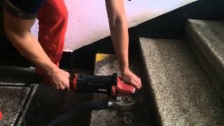 Mechanické broušení a štokování žulových kamenných schodů