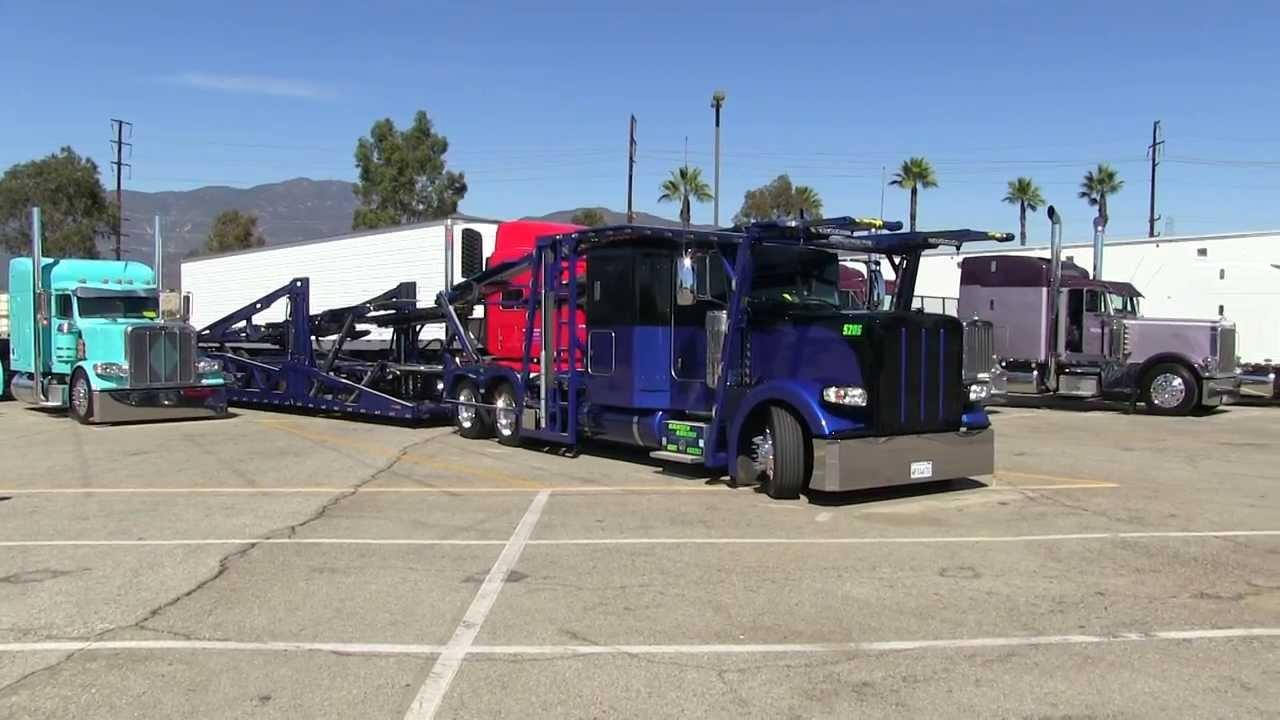 Peterbilt 389 Car Hauler Leaving Truckin For Kids 2013 Youtube