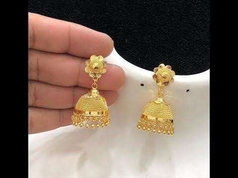 Latest Light Weight Gold Jhumki,Jhumka Designs With WEiGHT | Gold Earrings