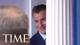 New England Patriots' Rob Gronkowski Crashes Sean Spicer's White House Press Briefing   TIME