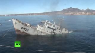 Un ancien navire de patrouille coulé pour devenir un récif artificiel dans les eaux du Mexique