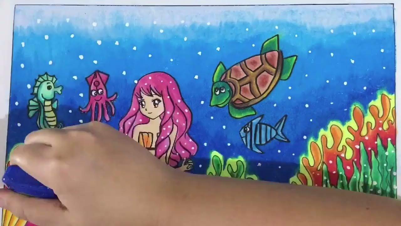 Caragradasiwarna01 Tema Putri Duyung Speed Drawing Youtube