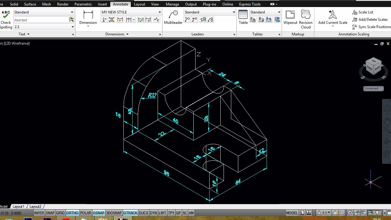 Autocad Mechanical Modeling Part2 Dimensioning A 3d
