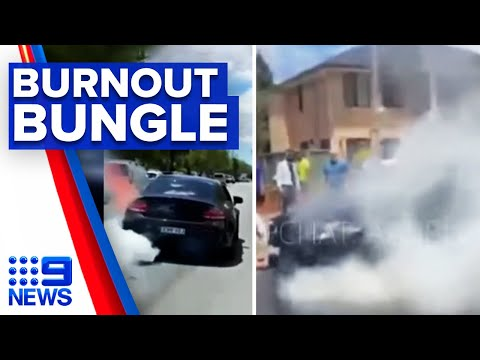 Engine bursts into flames during failed burnout | 9 News Australia thumbnail