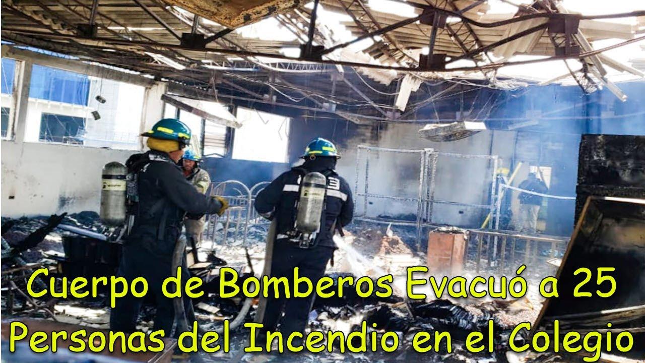 Bomberos extinguen incendio en colegio