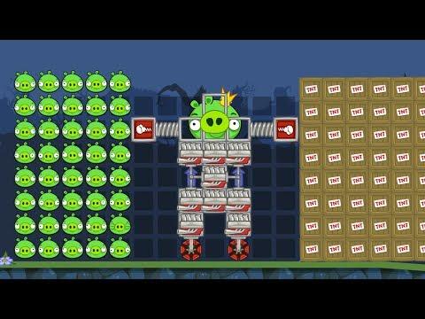 Bad Piggies - SILLY 100 PIGGIES AND ROBOT PIG VS 100 TNT!