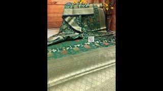 Green Color Banaras Chanderi Saree With Multi-Color Zari Weave