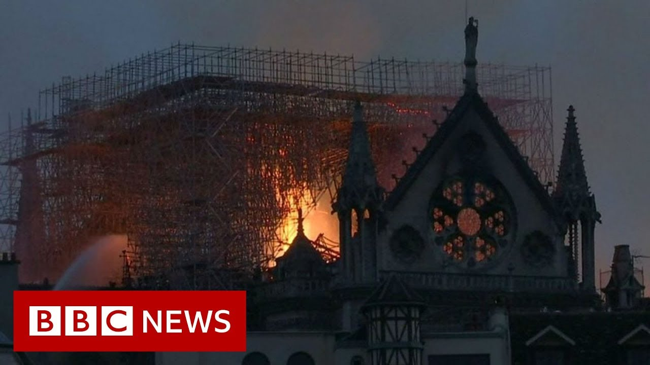 Notre-Dame fire: Structure 'saved' after huge fire - BBC News