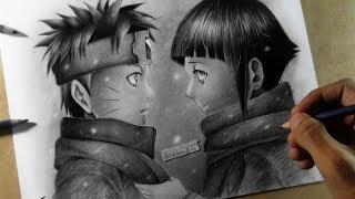Como dibujo a Naruto Uzumaki e Hinata Hyuga - Speed Drawing Naruto y Hinata Niños   Feliz Navidad
