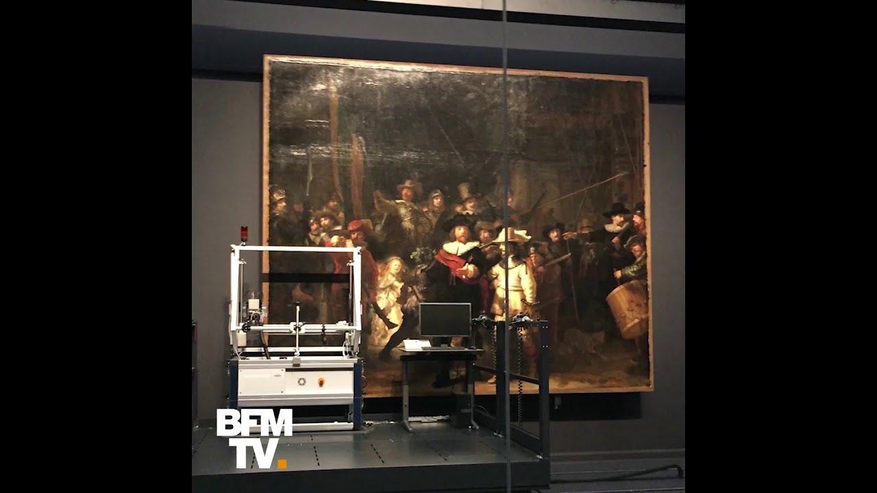 Le Chef D Oeuvre De Rembrandt La Ronde De Nuit Restaure En Public Youtube