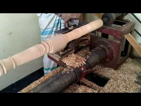 Wood Turning by Skilled Craftsmen by Hand/How to Turning Wood at Hand Machine for Making Furniture