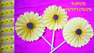 PAPER SUNFLOWER CRAFT||HOW TO MAKE PAPER SUNFLOWER|| DIY PAPER FLOWER|| PAPER CRAFT