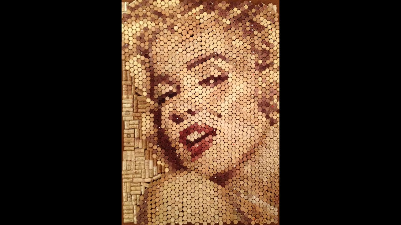 Marilyn Monroe Portrait Made Of Wine Corks
