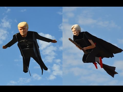 Flying Hillary Witch and Donald Moneybags: Clinton Trump Debate Campaign 2016