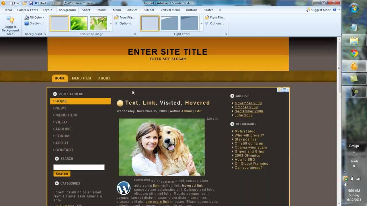 Artisteer 3.0 Web Design Tutorial & Overview WordPress, Joomla ...