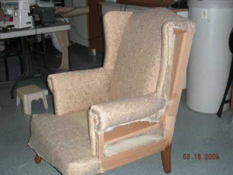 & diy wing chair re-upholster - YouTube