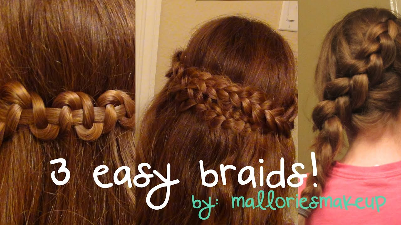 3 easy braids for everyday!  YouTube - Easy Braid Hairstyles