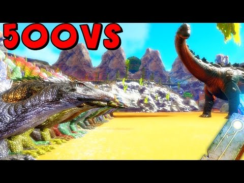 ARK Survival Evolved - 1000 COMPY, 1000 DODO, 500 SPINO VS TITANOSAUR ( ARK Battles Gameplay )