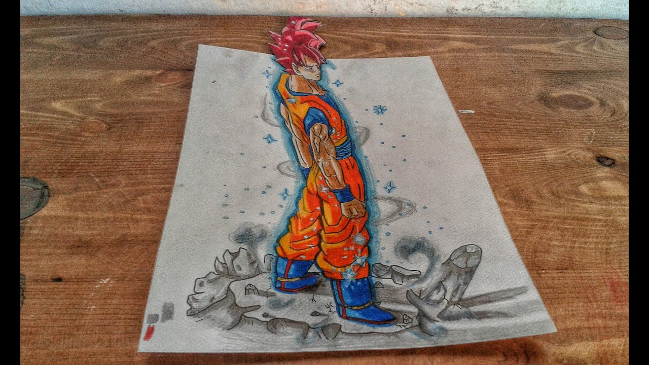 Drawing 3d Goku Super Saiyan God From Dragon Ball Z Battle