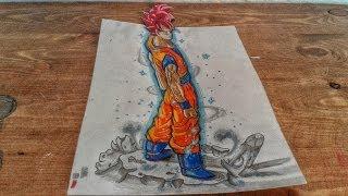 Drawing 3D goku super saiyan God from Dragon Ball Z battle of god