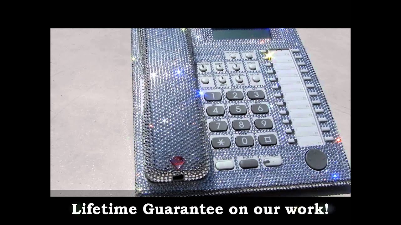 8c14498216bd24 Bling-Bling!  ) Swarovski CRYSTAL CLEAR DESK HOME OFFICE PHONE - YouTube