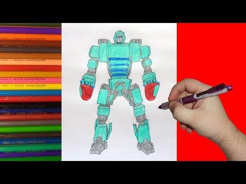 видео: how to draw robot bluebot, real steel, Как нарисовать робота Блубот, Живая Сталь