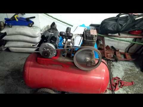 Harbor freight motor on an old air compressor