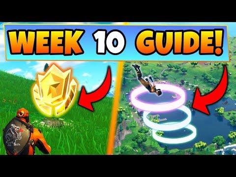 Fortnite WEEK 10 CHALLENGES GUIDE! – SKYDIVE RINGS, Treasure MAP, CHESTS, (Battle Royale Season 4)