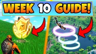 Fortnite WEEK 10 CHALLENGES GUIDE! – SKYDIVE RINGS, Treasure MAP, CHESTS, (Battle Royale Season 4)
