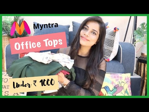 myntra-office-tops-under-rs-1000-haul-+-dresses,-joggers,-skirts