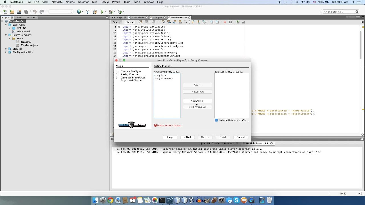 PrimeFaces CRUD Generator - Many-To-Many Example