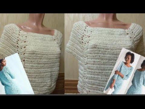 Как связать красивую модель туники или платья по картинке из журнала