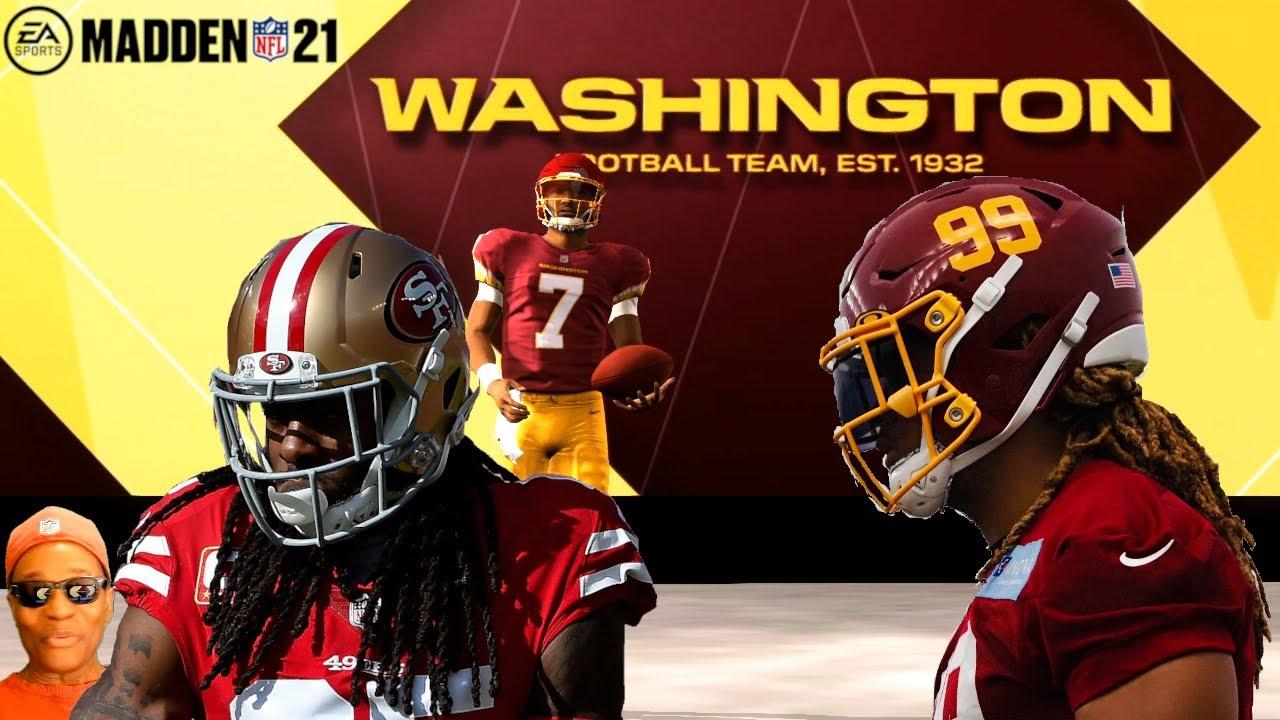 Madden Nfl 21 All Madden Gameplay The Washington Football Team New Uniform Field Helmets Youtube