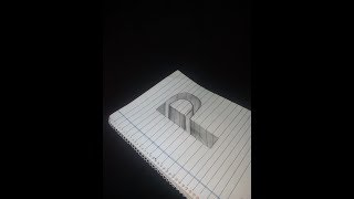 Drawing P Hole in Line Paper - 3D Trick Art with Graphite Pencil