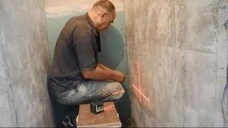 Укладка плитки в туалете ч.1(В ролике показано как после монтажа короба,закрывающего трубы,начать облицовку стен плиткой. КАК заработат..., 2014-06-10T16:17:57.000Z)