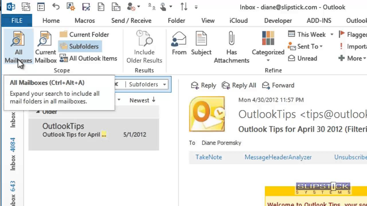Find Subfolders In Outlook Mailboxes