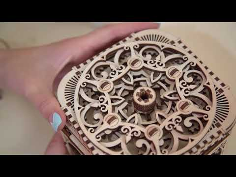 Ugears Treasure Box | Puzzle Lock Educational Kit | Small, European Style STEM Learning DIY Kit