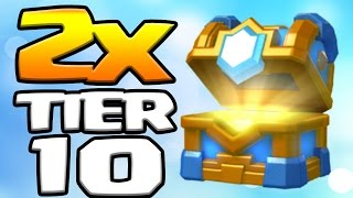 2 x BEST CLAN CHEST OPENING TIER 10 | LEGENDARY CARD HUNTING | Clash Royale