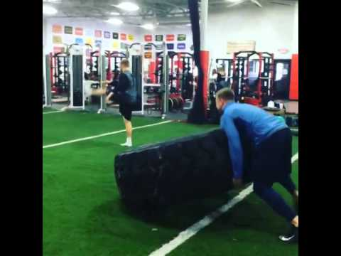 JJ Watt Lifting 1000 Pound Tire 30 Times