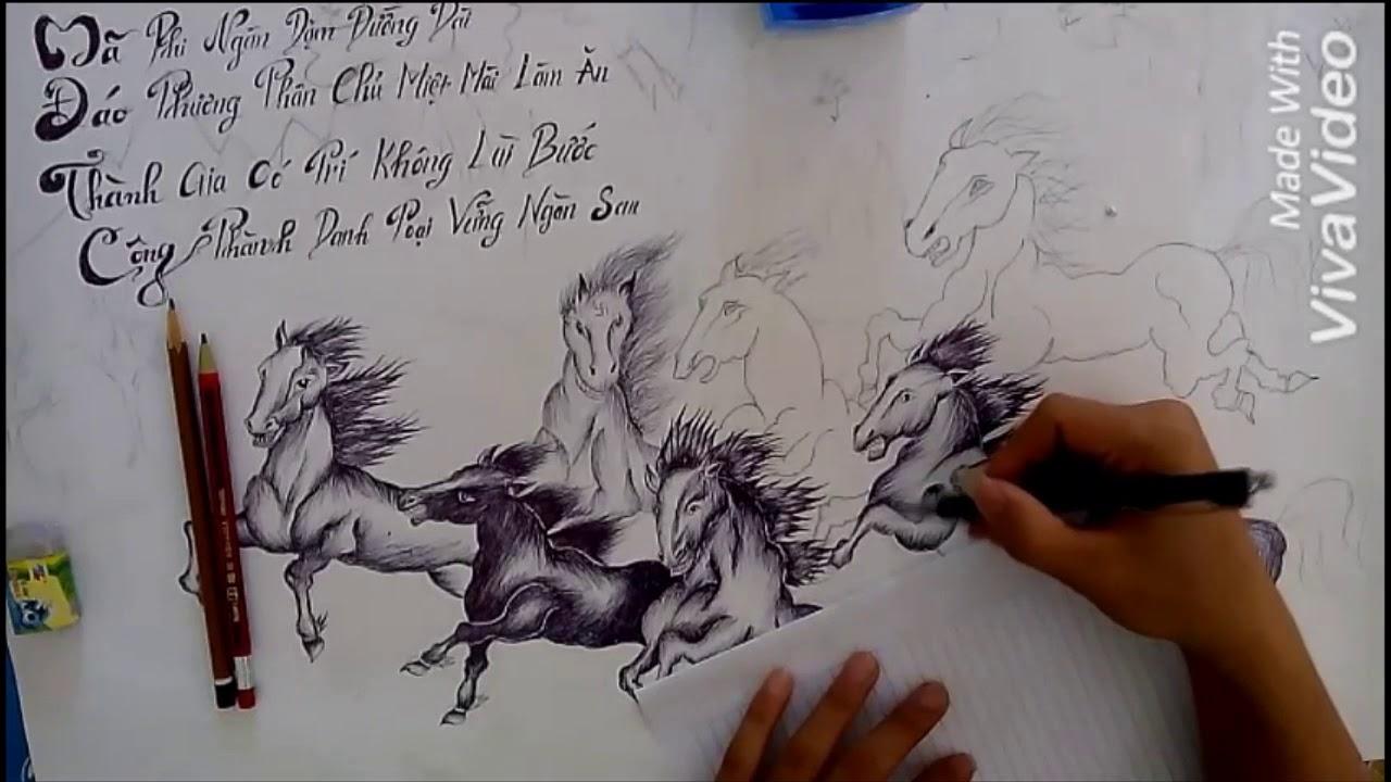 Vẽ Tranh Mã Đáo Thành Công Bằng Bút Bi