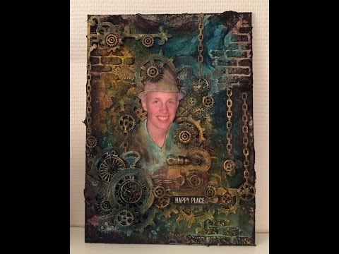 Steampunk Mixed Media Canvas 'Finnabair style' and process video/tutorial