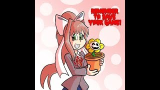 Let's Draw Monika and Flowey the Flower. A Doki Doki Literature/Undertale Mash-Up
