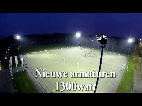 LED sportveld verlichting -- korfbal blauw-zwart - YouTube